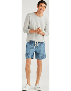 Tie Waist Linen Short in Chambray Faded Floral