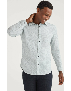 Poplin Roadster Long Sleeve Shirt in White Micro Floral