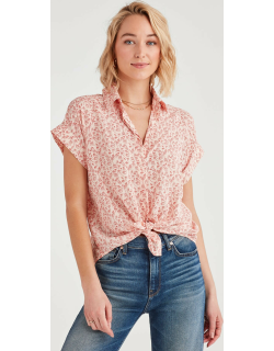 Tie Front Short Sleeve Shirt with Floral Print in Pink Sunrise