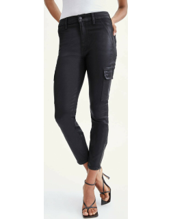 7 For All Mankind Womens Coated Skinny Cargo in Black