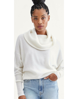7 For All Mankind Womens Cashmere Funnel Neck Sweater in Soft White