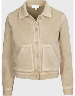 7 For All Mankind Womens Triple Stretch Crop Jacket in Sand