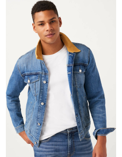 7 For All Mankind Mens Trucker Jacket With Contrast Collar In Mastermind