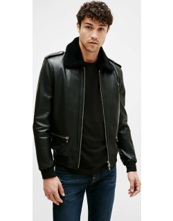 Leather Bomber in Black