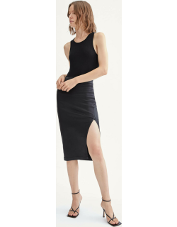 B(air) Pencil Skirt with Side Slit in Coated Black