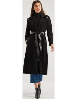 Suede Trench Coat with Patent Leather Trim in Jet Black