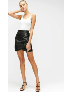 Ruched Leather Skirt in Jet Black