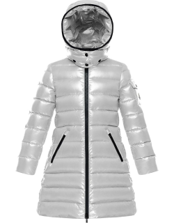 Moka Laque Mini Me Quilted Hooded Long Coat,