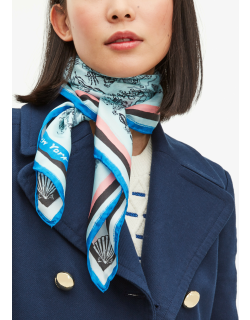 Holiday Travel Toile Silk Square Scarf - Blue Glow - One