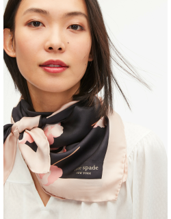 Falling Poppies Silk Square Scarf - Black - One