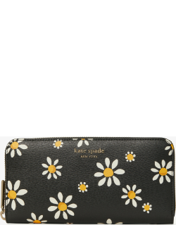 Spencer Daisy Dots Zip-Around Continental Wallet - Black - One