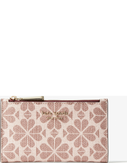 Spade Flower Coated Canvas Small Slim Bifold Wallet - Multi - One