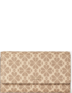 Spade Flower Coated Canvas Chain Clutch - Natural Multi - One