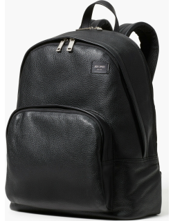 Pebbled Leather Backpack - Black - One