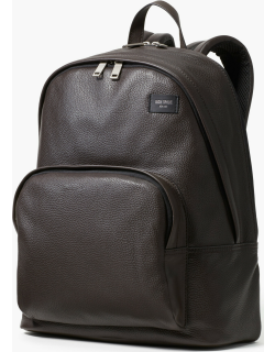 Pebbled Leather Backpack - Brown - One