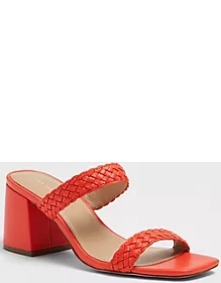 Ann Taylor Peyton Woven Leather Strappy Block Heel Sandals