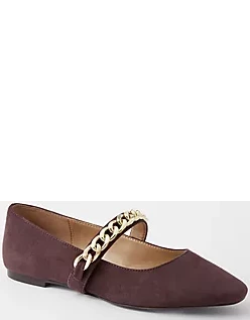 Ann Taylor Chain Suede Mary Jane Flats