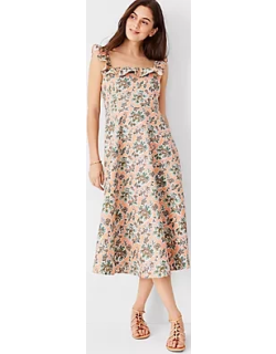 Ann Taylor Tall Floral Cotton Linen Ruffle Square Neck Flare Dress