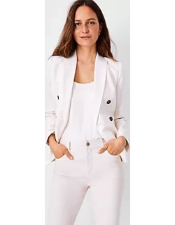 Ann Taylor The Petite Striped Double Breasted Blazer in Linen Cotton