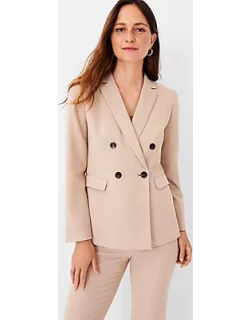 Ann Taylor Houndstooth Relaxed Double Breasted Long Blazer