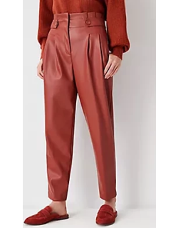 Ann Taylor The Faux Leather Paperbag Ankle Pant