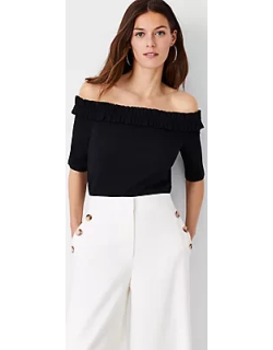 Ann Taylor Petite Ruffle Off The Shoulder Top