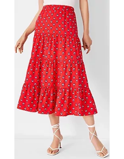 Ann Taylor Petite Floral Gathered Tiered Midi Skirt