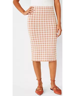 Ann Taylor Checked Sweater Pencil Skirt
