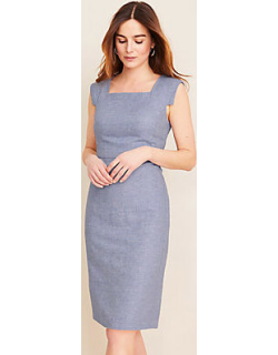 Ann Taylor The Tall Square Neck Cap Sleeve Sheath Dress in Linen Twill