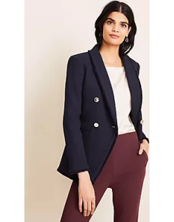 Ann Taylor Petite Double Breasted Tweed Blazer