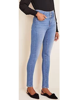 Ann Taylor Tall High Rise Sculpting Pocket Skinny Jeans in Light Stone Wash