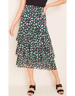 Ann Taylor Petite Floral Tiered Ruffle Skirt