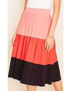 Ann Taylor Colorblock Pleated Sweater Skirt