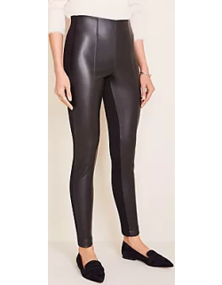 Ann Taylor Tall Faux Leather Seamed Side Zip Leggings