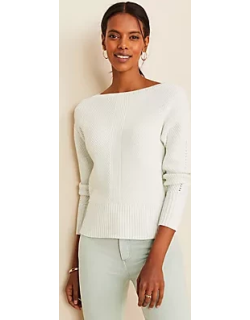 Ann Taylor Side Button Cropped Sweater