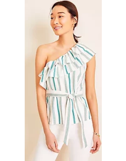 Ann Taylor Striped Ruffle One Shoulder Top