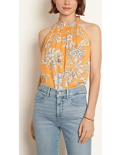 Ann Taylor Tropical Toile Smocked Halter Top