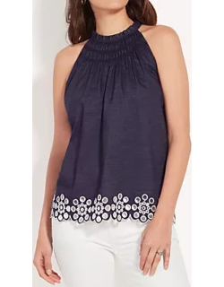 Ann Taylor Embroidered Smocked Halter Top