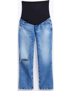 Loft The Maternity Destructed Straight Crop Jean in Authentic Light Indigo Wash