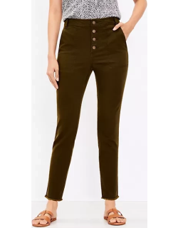 Loft Button Front High Rise Skinny Ankle Pants