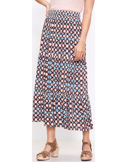 Loft Petite Sunwashed Floral Tiered Pull On Maxi Skirt