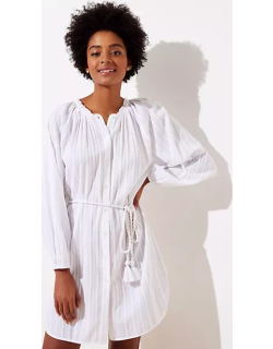 LOFT Beach Striped Rope Belted Swimsuit Coverup