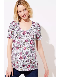 LOFT Maternity Floral Cinched Sleeve Statement Tee