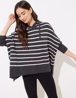 LOFT Striped Hooded Poncho Sweater