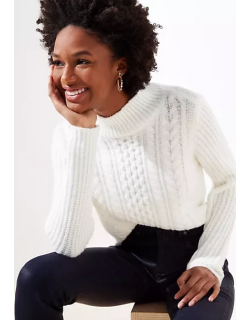 LOFT Cropped Turtleneck Cable Sweater