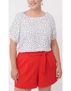 LOFT Plus Dotted Puff Sleeve Boatneck Top