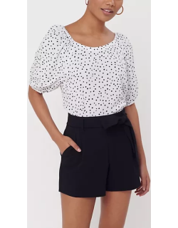LOFT Dotted Puff Sleeve Boatneck Top