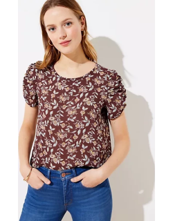 LOFT Floral Cinched Puff Sleeve Top