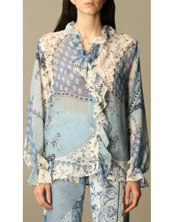 Etro shirt in patterned silk with rouches