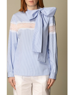 Red Valentino shirt in striped cotton and lace